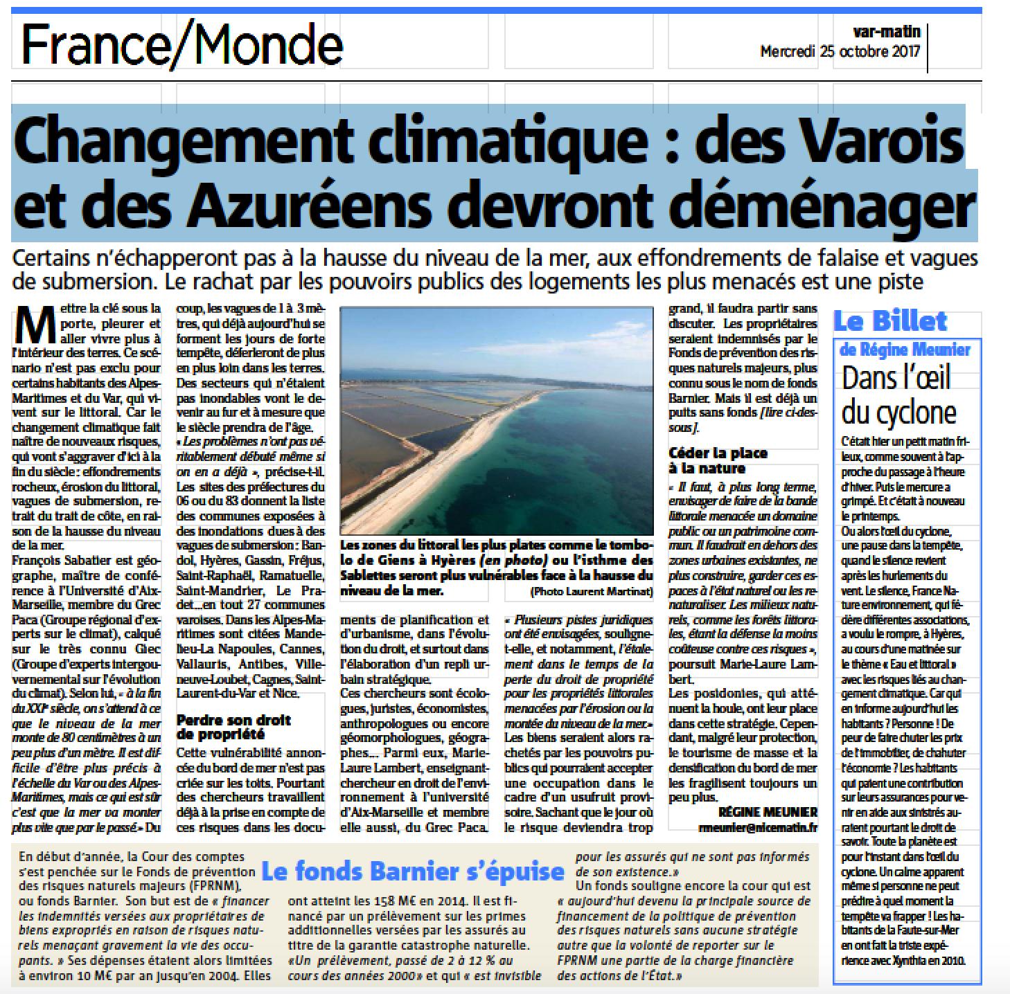 Hausse du niveau de la mer - Le GREC-PACA dans la presse