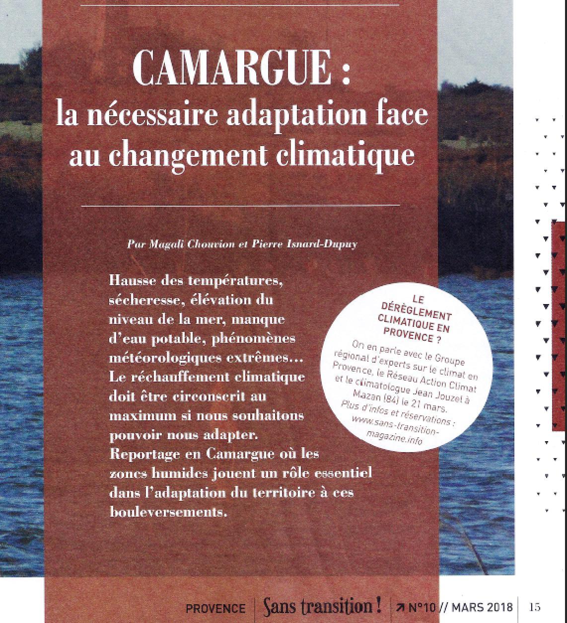 Presse : la Camargue face au changement climatique